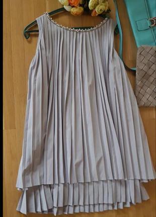 Платье мини трапеция плиссе хлопок