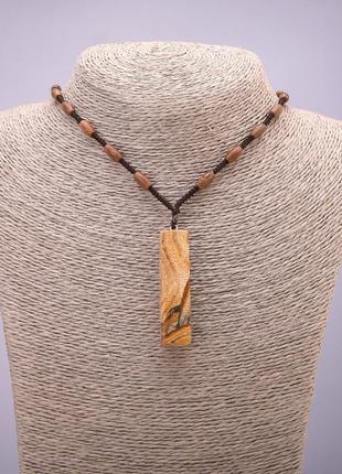Кулон из натурального камня яшма на  шнуре