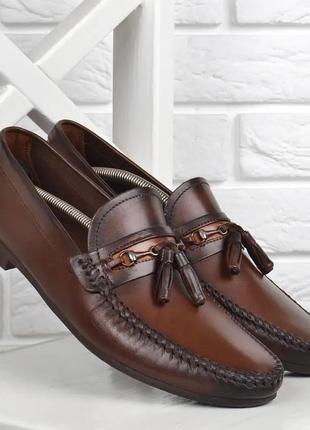 Мокасины мужские кожаные cooperatiff темно коричневые демисезонные