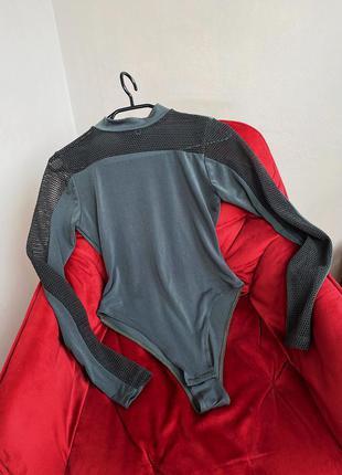 Боди блуза со вставками сетка лонгслив