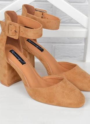 Туфли женские на каблуке велюровые camel бежевые карамель