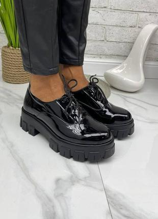 36-41 рр туфли на платформе на шнурках натуральная кожа/замша/лак