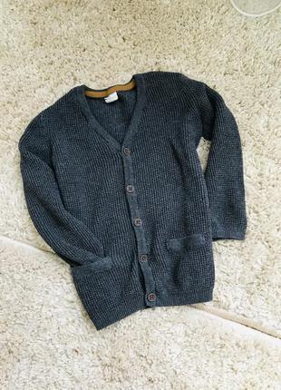 Вязаный кардиган свитер на пуговицах мальчик 2/3 года