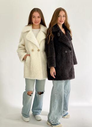 Натуральная стриженная  овчина тёплая зимняя шуба wool merino