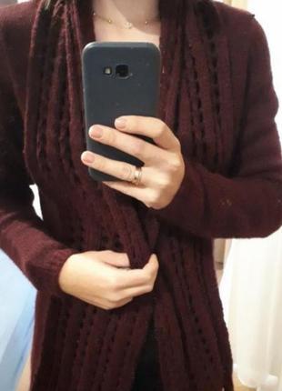 Кардиган, свитер вязаный тёплый в цвете марсала в размере м (42-46)