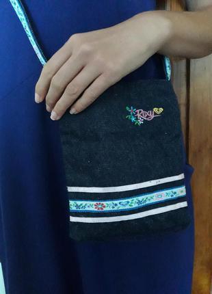Джинсовая сумочка с вышивкой маленькая сумка кармашек roxy