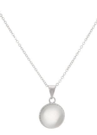 Цепочка с круглым кулоном белый кошачий глаз, натуральный камень, серебряное покрытие 925 пробы