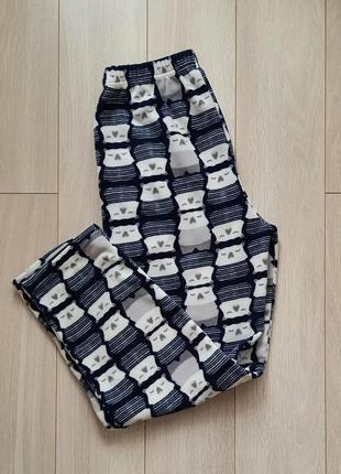 Флисовые тёплые пижамные домашние штаны, флис в принт
