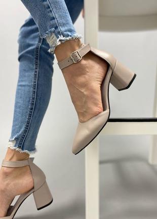 Туфли с ремешком женские мокко бежевые кожаные кожа карамель