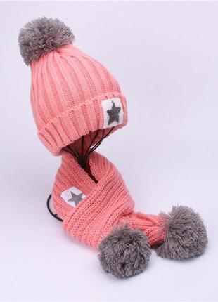 Набор шапка на меху и шарф