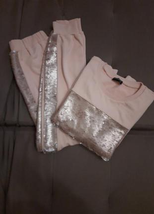 Хлопковый прогулочный костюм, нежный розовый с паетками