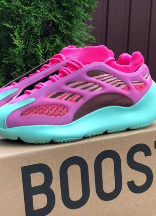 Женские кроссовки adidas yeezy boost 700 мятный с розовым