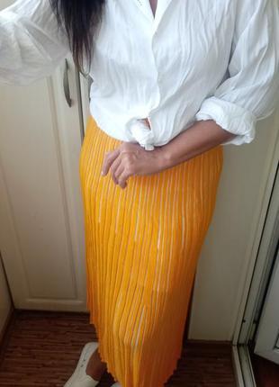 Вязаная юбка жёлтая