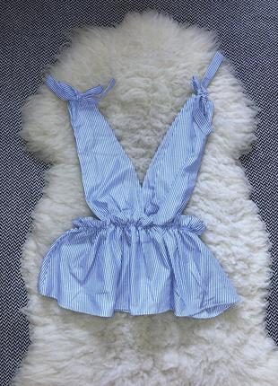 Блуза топ майка полоска на грудь рюша оборка волан