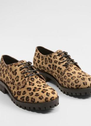 Стильние ботинки mango kids кожа 31 размер черевички для дівчинки шкіра