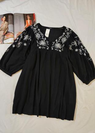 George черное коттоновое платье с вышивкой uk 18