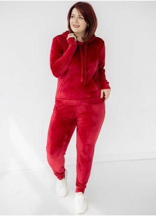 Красный бархатный костюм, спортивный костюм для прогулок, худи кенгуру с капишоном и штаны