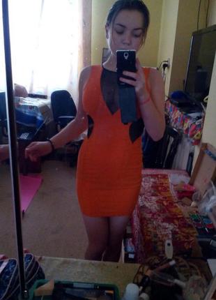 Супер платье оранжевое zara