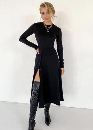 Платье миди трикотаж рубчик с-хл 4 цвета