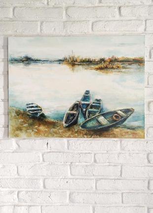 """Картина """"тиша на озері..."""" - 60*80см, олійні фарби, полотно на підрамнику, мастихін"""