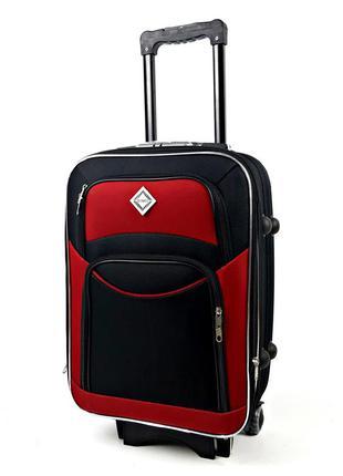 Большой тканевый чемодан черно-вишневый на 5 колесах