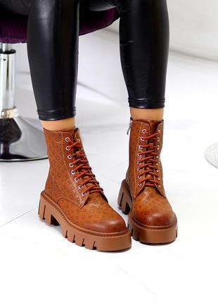 Дизайнерские женские ботинки на утолщенной подошве на флисе цвет карамель