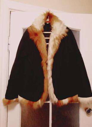 Женская демисезонная куртка с рыжим мехом р 48-50.