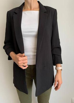 Удлиненный пиджак с рукавом три четверти h&m с подкладкой піджак жакет накидка