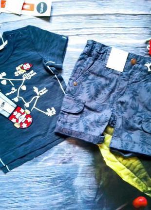 Джинсовые шорты. ovs италия + футболка original marines