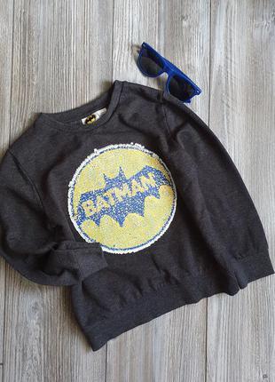 Свитшот реглан начес с реверсивными пайетками batman primark 7-8л
