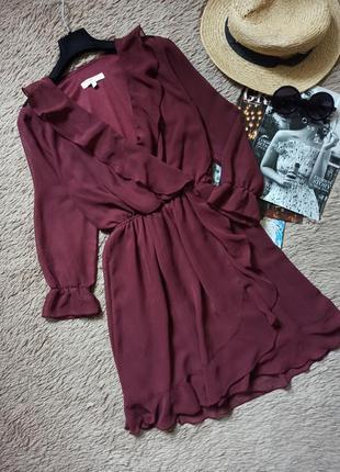 Шикарное платье с рюшами на запах/плаття/сукня