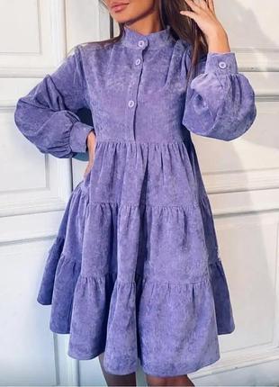 Женское платье вельвет  до колен лаванда теплое деми