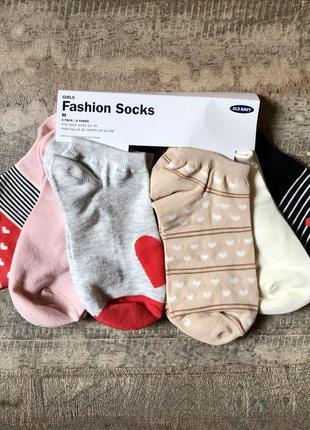 Детские носки, носочки для девочки old navy, набор носков 6 пары, р. м (31-34), 18 см