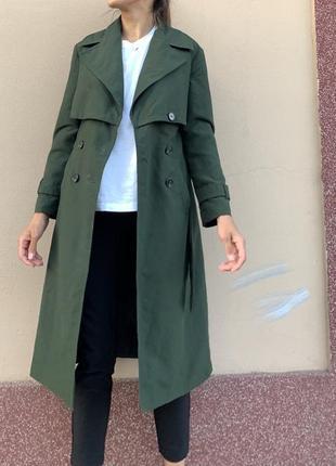 Зелёный тренч пальто с поясом