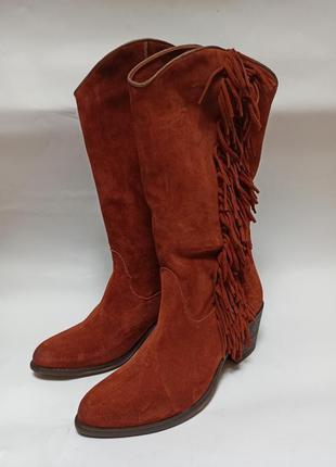 Сапоги кирпичного цвета замшевые. брендове взуття stock