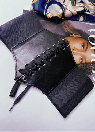 Ремень черный пояс корсет широкий пояс черный ремень  карсет на талию от 58 до 80
