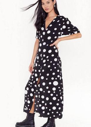 Шикарное макси платье в горох