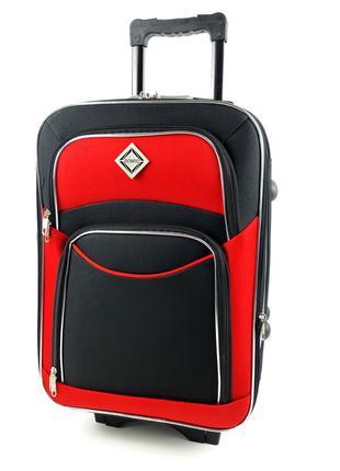 Средний тканевый чемодан черно-красный на 5 колесах