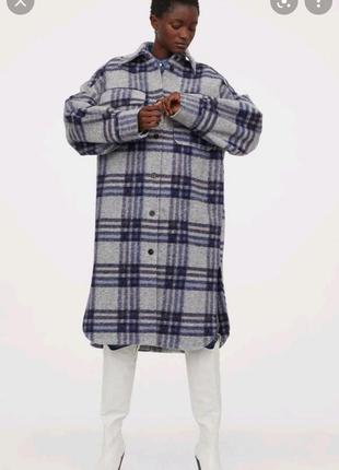 Пальто рубашка на підкладці h&m удлиненная рубашка в клетку пальто из шерсти h&m