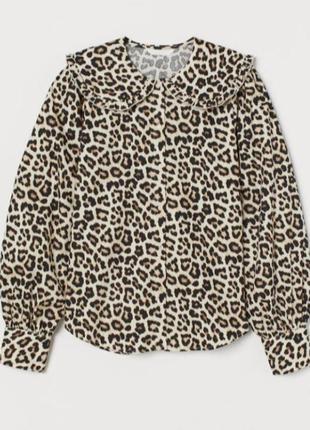 Рубашка леопардовая анимал с большим воротником