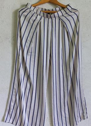 Стильные атласные широкие брюки штаны палаццо в полоску от h&m