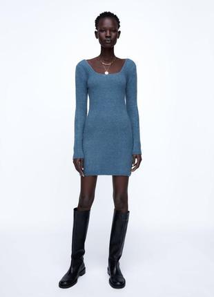 Платье шикарное мини стильное с длинным рукавом zara
