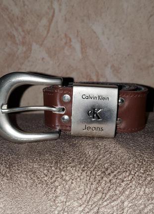 Оригинальный кожаный ремень пояс calvin klein натуральная кожа