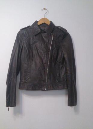 Стильная кожаная куртка бомбер косуха oodji, размер 38 (укр 46)