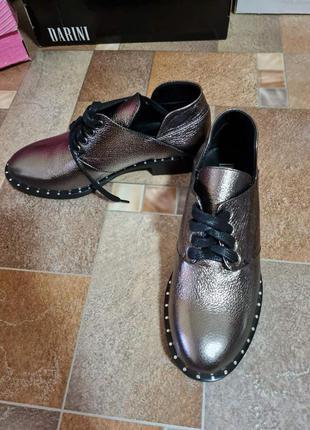 Туфли серебро натуральная кожа