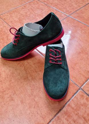 Туфли яркие натуральный замш