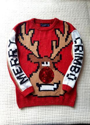 Новогодний свитер next теплая кофта некст джемпер с оленем свитшот
