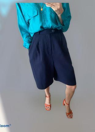 100% шерсть. темно-синие шорты бермуды на осень весну тёплые