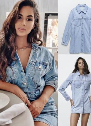 Sale джинсовое  мини платье  рубашка zara  р.м