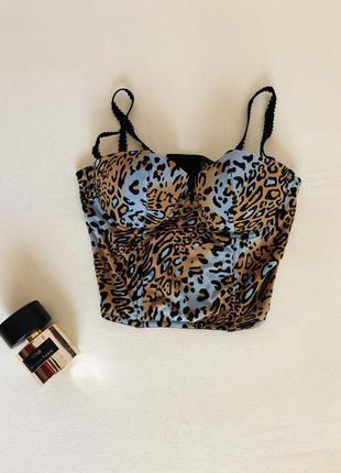 Красивый леопардовый корсет, топ, кроп топ, бандо, лиф, бюстье, боди.